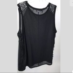Ana Tank Top Solid Black Lace Sheer Back Size 2X